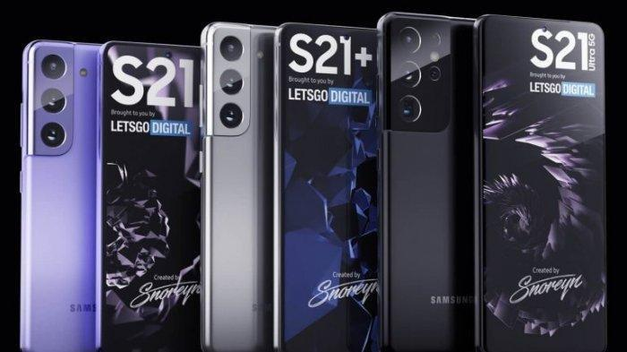 Deretan gambar render yang menampilkan sosok Galaxy S21, S21 Plus, dan S21 Ultra. Simak daftar harga HP Samsung terbaru Januari 2021