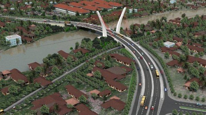 DESAIN Jembatan Sungai Alalak  yang menghubungkan Kota Banjarmasin ke Kabupaten Barito Kuala (Batola).