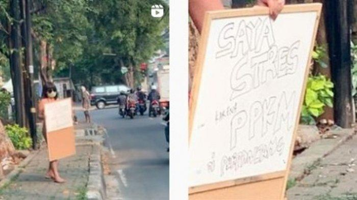 Heboh Aksi Dinar Candy Pakai Bikini di Pinggir Jalan, Protes Presiden Jokowi Soal PPKM Diperpanjang
