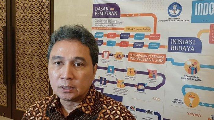 Dirjen Kebudayaan Kemendikbud Hilmar Farid saat ditemui dalam diskusi bertajuk Indonesiana, Platform Kebudayaan di Jakarta, Kamis (5/12/2019).
