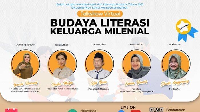 Dinas Perpustakaan dan Kearsipan Provinsi Kalimantan Selatan (Dispersip Kalsel) menggandeng presenter, artis sekaligus penulis buku, Nadia Mulya, pada kegiatan webbinar ke-30 yang akan diselenggarakan pada Selasa, 29 Juni 2021.