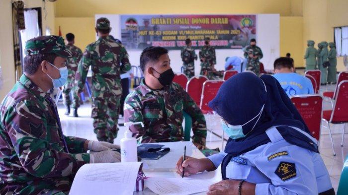 Peringati HUT Kodam VI Ke- 63, Kodim Barito Kuala Gelar Aksi Donor Darah