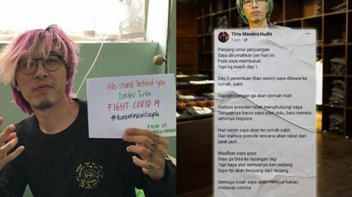 Permintaan Maaf dr Tirta Setelah Jatuh Sakit dan Jadi PDP Covid-19, Ngaku Kondisi Memburuk