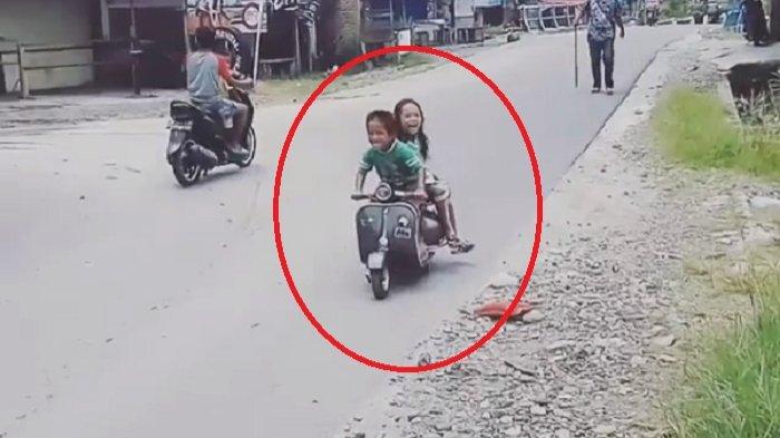 Bikin Ngakak! Setelah MiniGP, Kini Viral 2 Bocah Kecil Boncengan Naik Vespa, Jomblo Makin Iri!