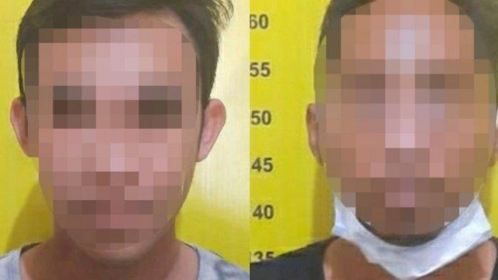 Dua tersangka lainnya dalam dugaan kasus pesta sabu yang telah dimankan di Polres Tabalong, Kalimantan Selatan, Senin (1/2/2021).