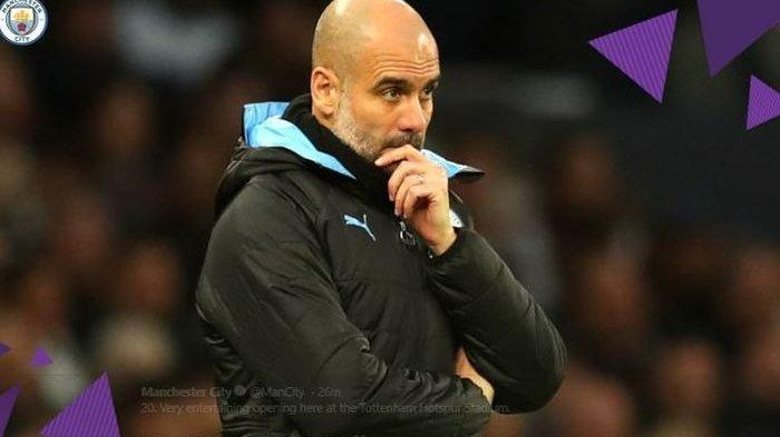 Ekspresi Pep Guardiola di laga Tottenham Hotspur Vs Manchester City, Minggu (22/2/2020).