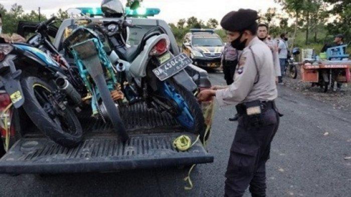 Beraksi di Kawasan Perkantoran Provinsi Kalsel Banjarbaru, Empat Motor Balap Liar Diamankan Polisi