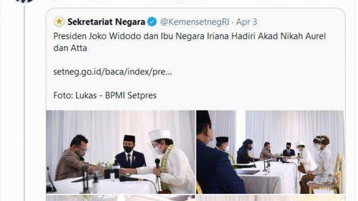 Presiden Jokowi Hadir, Video Nikah Atta Halilintar & Aurel di YouTube Sekretariat Presiden Disorot