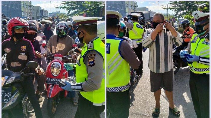 HUT ke-75 Kemerdekaan RI, Ditlantas Polda Kalsel Bagikan 1.000 Masker di Kalsel