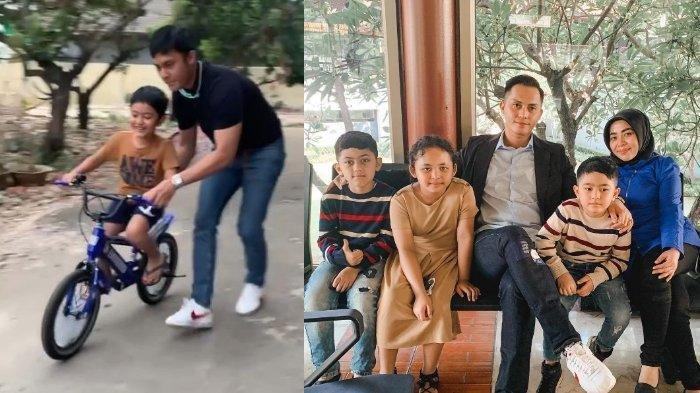 Fadel Islami mengajari anak sambungnya naik sepeda