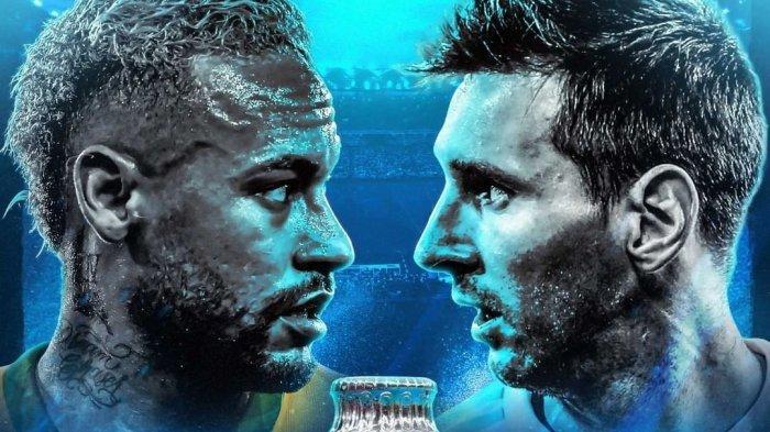 Neymar dan Lionel Messi dalam banner final Copa America 2021 antara Brazil vs Argentina yang dijadwalkan berlangsung Minggu (11/7) pagi yang disiarkan langsung Indosiar & Live Streaming TV Online Vidio.com