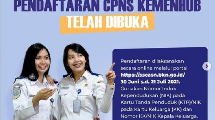 Flyer penerimaan CPNS 2021 di Kementerian Perhubungan.