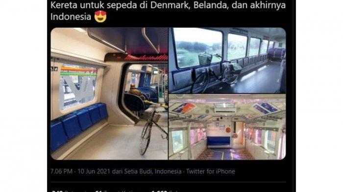 Viral di Media Sosial Gerbong Khusus Sepeda di Kereta Api Indonesia, Sumatera Lebih Dulu
