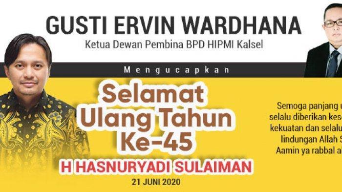 Gusti Ervin Wardhana Ucapkan Selamat Ulang Tahun ke-45 untuk Hasnuryadi Sulaiman