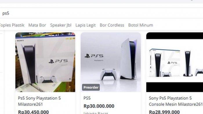 Pantauan harga PS5 yang dijual kembali di Tokopedia