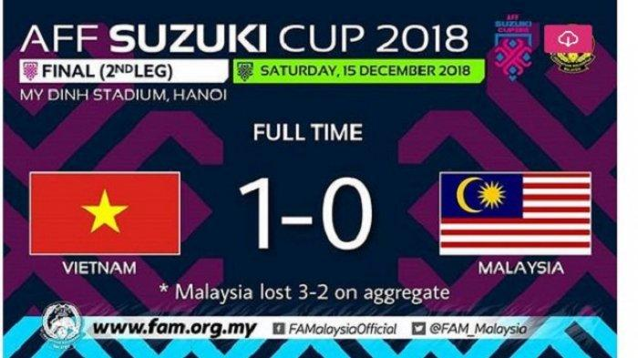 Vietnam Juara Piala AFF 2018, Hasil Akhir Vietnam vs Malaysia 1-0 di Leg 2 FInal Piala AFF 2018