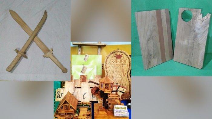 Kreativitas Warga Pugaan Kabupaten Tabalong Hasilkan Kerajinan dari Limbah Kayu Sisa Industri Mebel