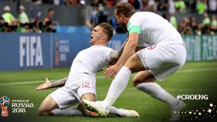 Hasil Kroasia vs Inggris di Semifinal Piala Dunia 2018 - Skor Sementara 0-1, Kieran Trippier!