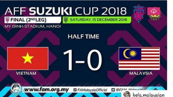 Hasil Vietnam vs Malaysia Leg 1 Final Piala AFF 2018, Skor Babak Pertama 1-0, Vietnam Juara?