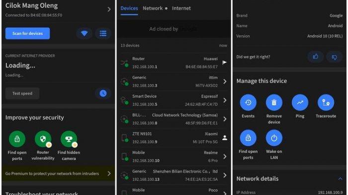Ilustrasi aplikasi Fing Network Tools di smartphone Android.