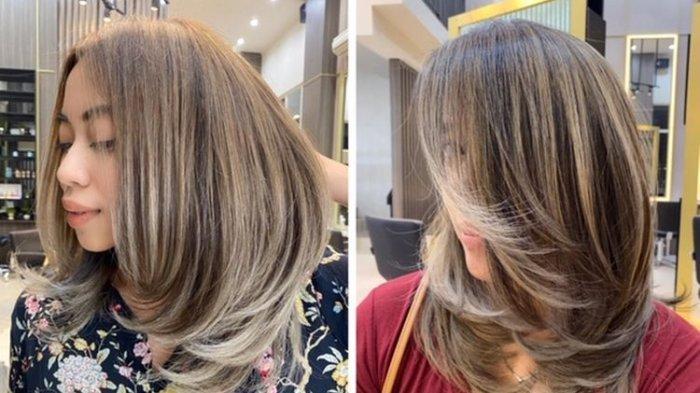 Ilustrasi rambut yang diwarnai di salon.