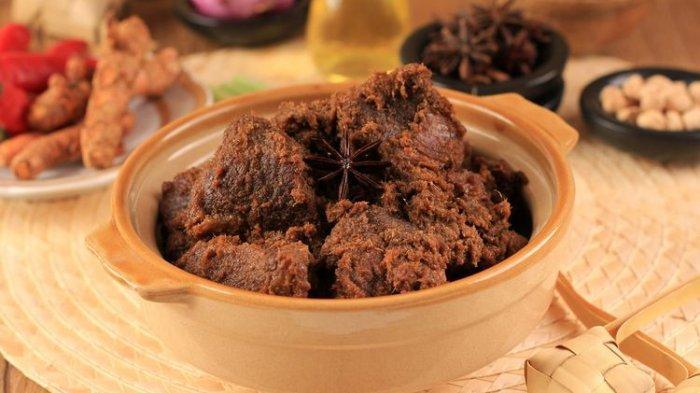 Ilustrasi rendang daging sapi khas Minang.