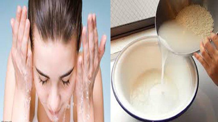 Membasuh wajah dengan air rendaman beras