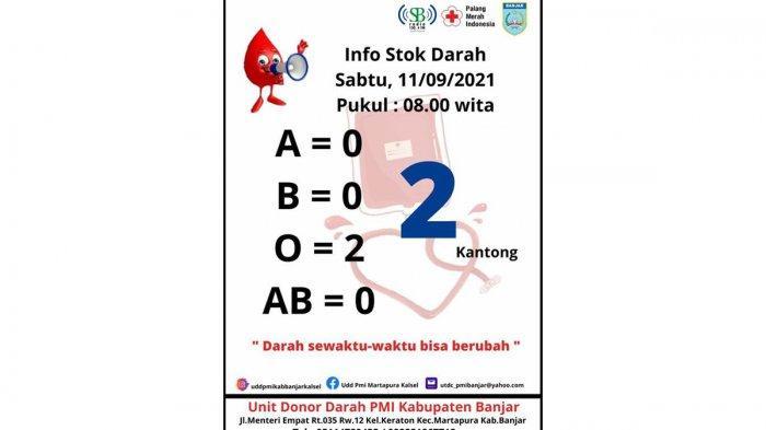 Stok Darah A, B dan AB Kosong, PMI Kabupaten Banjar Tunggu Relawan Pendonor