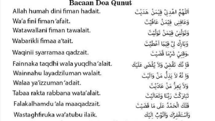 Inilah bacaan doa qunut yang kerap dibaca saat shalat subuh bagi umat Islam.