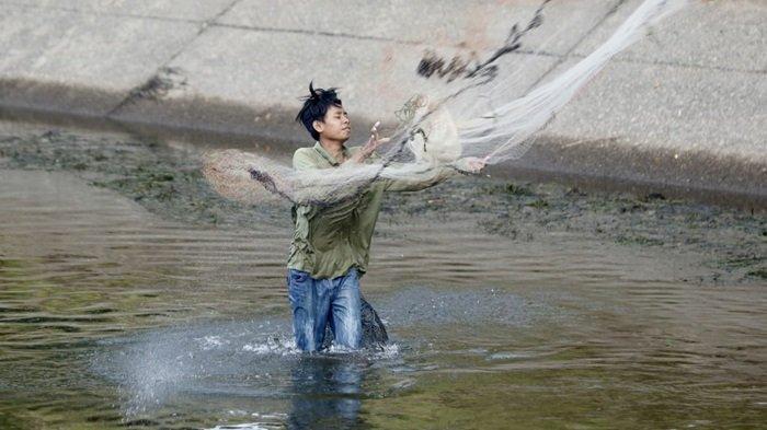 Mencari ikan dengan menebar jaring lunta di saluran irigasi Martapura yang mengering