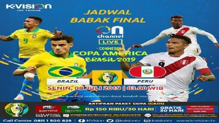Live KVision TV! Jadwal Siaran Langsung Brazil vs Peru di Final Copa America 2019 di Brasil