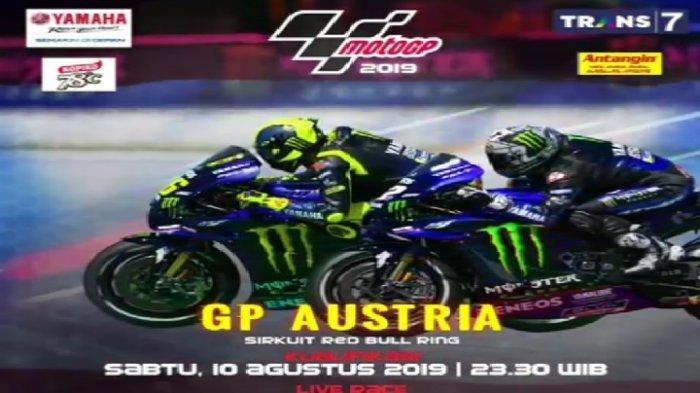 Jadwal Live Streaming Trans 7 MotoGP Austria 2019 : Valentino Rossi Start di Belakang Marc Marquez