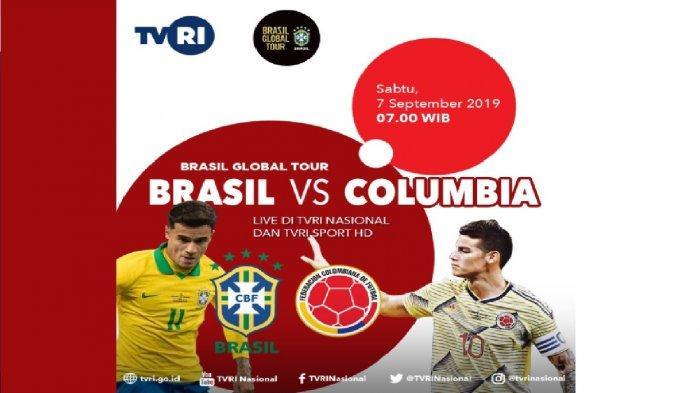LIVE TVRI - Jadwal Brazil vs Kolombia di Siaran Langsung TVRI, Laga Persahabatan Brasil Globar Tour