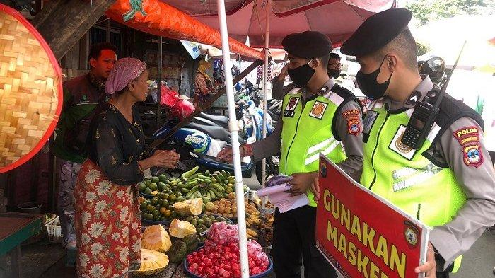 Patroli Yustisi ke Pasar di Banjarmasin, Ditsamapta Polda Kalsel Ingatkan Pedagang dan Pengunjung