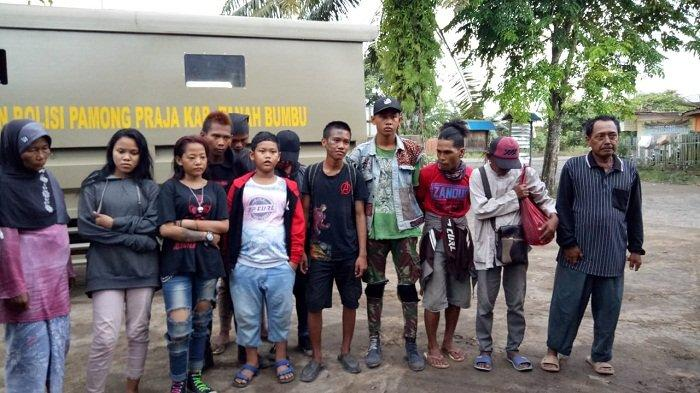 15 Orang Anak Punk dan Pengemis Diciduk Satpol PP Tanbu, Ada yang Coba Kabur