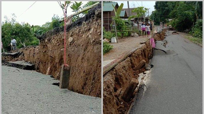 Tanah di Desa Hapingin Turun Lagi Mencapai Satu Meter, Akses Jalan Tidak Bisa Dilalui