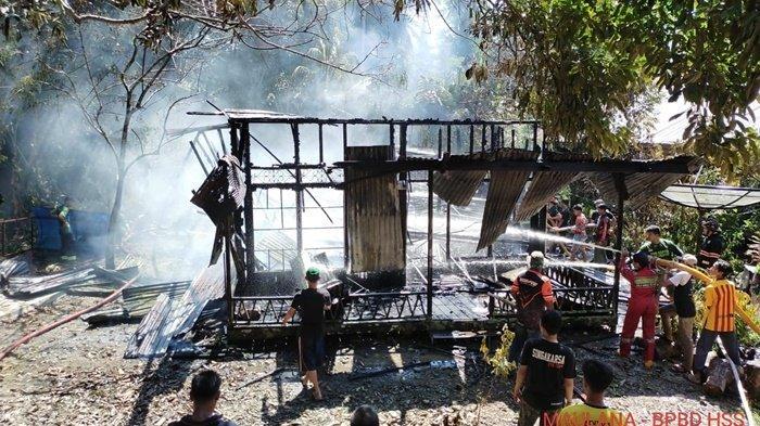 Kebakaran Kalsel, Rumah Kosong di Desa Sarang Halang Kabupaten HSS Hangus