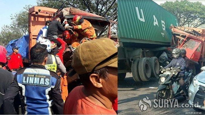 Sopir Mengantuk, Truk Tronton Tabrak Truk Kontainer di Kalianak Surabaya, Kaki Ichsan Terjepit Kabin