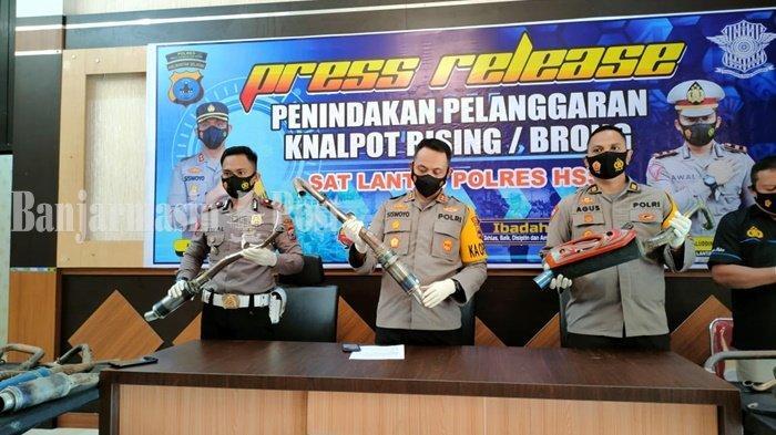 Anggota Satlantas Polres HSS Razia 43 Knalpot Brong di Wilayah Kandangan