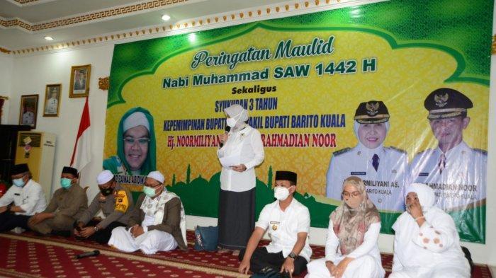 Peringatan Maulid Nabi Muhammad SAW sekaligus syukuran tiga tahun kepemimpinan Bupati Batola Noormilyani digelar, Rabu (11/11/2020).