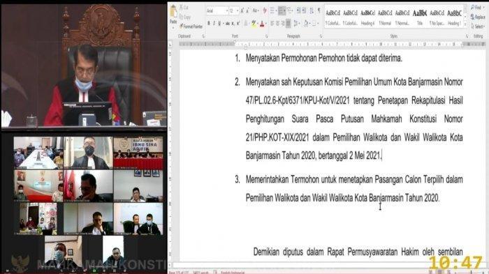 Gugatan AnandaMu Rontok, MK Terima Eksepsi KPU dan Petahana Pilwali Banjarmasin