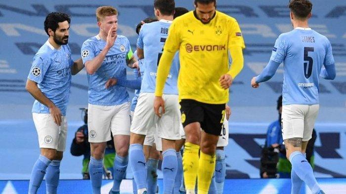 Kevin De Bruyne merayakan golnya pada laga Manchester City vs Borrusia Dortmund di perempat final Liga Champions Rabu (6/4/2021) dini hari WIB