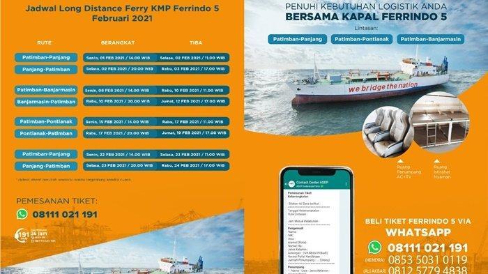 Tiket Kapal Ferindo 5 Banjarmasin ke Kabupaten Subang Jabar Dibanderol Rp 66 Ribu