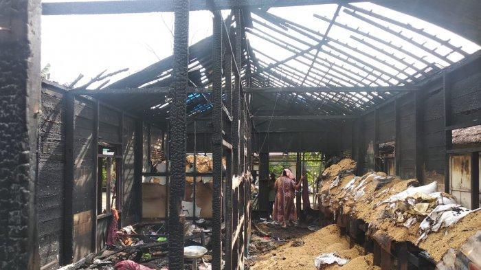 Dua Rumah Terbakar, Padi Siap Giling Berhamburan di Sungai Pinang Lama Kabupaten Banjar