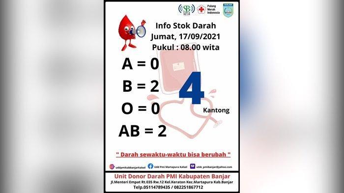 Stok Darah PMI Kabupaten Banjar Tersisa 4 Kantong, Sisakan Golongan Darah B dan AB