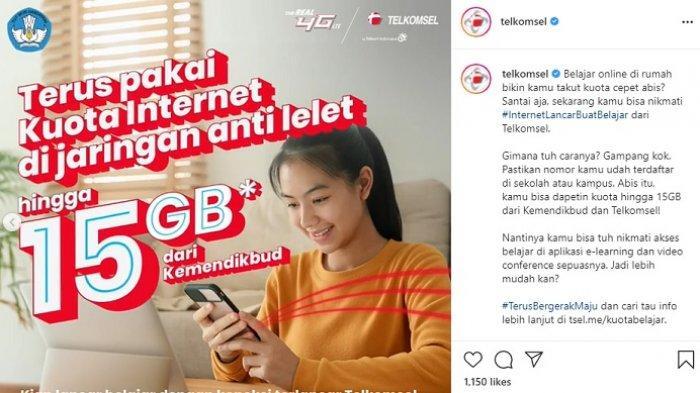 Kuota murah Telkomsel dari Kementerian Pendidikan dan Kebudayaan (Kemendikbud), pengguna bisa mendapatkan kuota hingga 15GB.