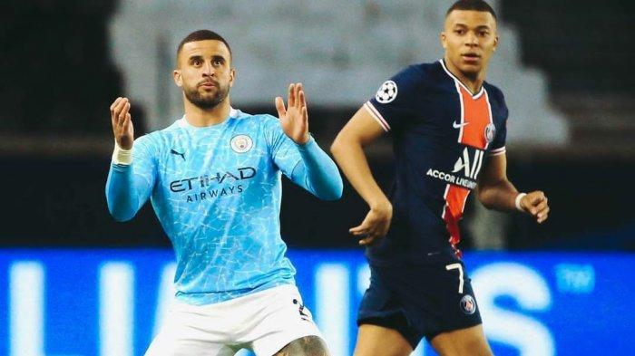 Kyle Walker dan Kylian Mbappe dalam laga PSG vs Manchester City pada leg pertama babak semifinal Liga Champions 2020/2021
