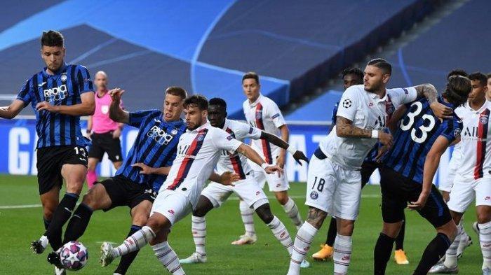 Laga Atalanta vs PSG di perempat final Liga Champions yang berlangsung di Stadion da Luz, Lisbon, Portugal, Kamis (13/8/2020) dini hari WIB.