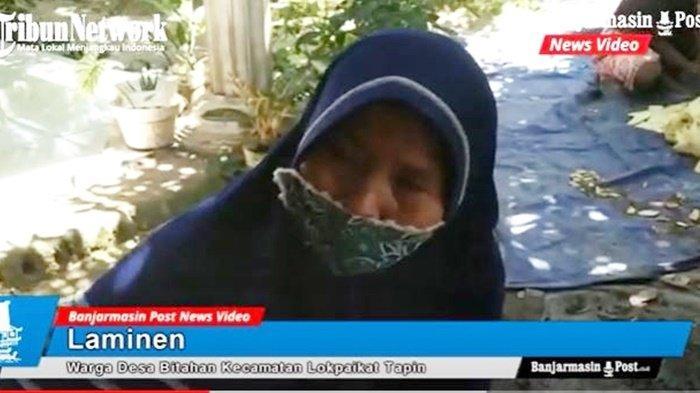 Laminen, perajin kerupuk gadung yang melibatkan ibu-ibu untuk mendapat tambahan penghasilan di masa pandemi, di Desa Bitahan, Kecamatan Lokpaikat, Kabupaten Tapin, Provinsi Kalimantan Selatan, Sabtu (24/4/2021).
