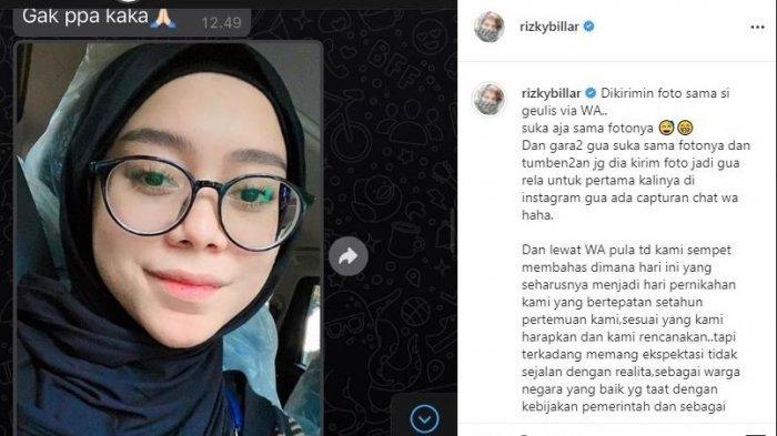 Isi postingan Rizky Billar dan foto Lesti Kejora di akun instagramnya.